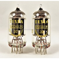 Matched pair ECC802S Tesla = ECC82 = 12AU7